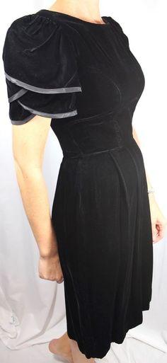 Lanz Originals Vintage Hollywood  Black Velvet Poof Sleeve  Dress Small  Women 4 #LanzOriginals #classichollywoodglam