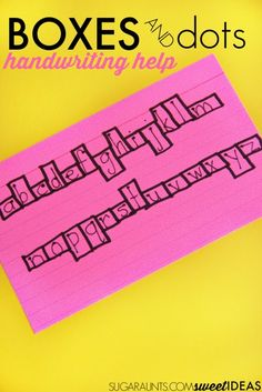 Use a visual cue of boxes and starting dots to work on letter formation, line…