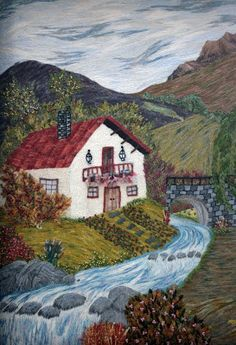 "CENTRO CULTURAL MUNICIPAL DE CHILLAN: Exposición de bordados en Crewel ""Puntadas y Matices"" Silk Ribbon Embroidery, Crewel Embroidery, Embroidery Designs, Free Printable Coloring Sheets, Landscape Art Quilts, House Quilts, Thread Painting, Needlepoint Canvases, Beautiful Paintings"