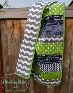 Ready to Ship Seattle Seahawks Striped quilt by ILoveLucyGoosey