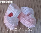 Number 36 Knitting Pattern  White and Pink Cotton Booties with a T-strap for a Baby Girl 3-6, 6-9 months