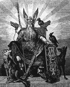 """In Norse mythology, Geri and Freki (Old Norse, both meaning """"the ravenous"""" or """"greedy one"""") are two wolves which are said to accompany the god Odin. Tattoo Deus, Old Norse, Norse Pagan, Asatru, Norse Vikings, Viking Warrior, Viking Age, Tatoo Art, Norse Mythology"""
