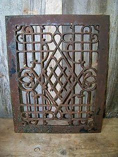 Antique Cast Iron Register Vent Grate ~ Old Vintage Metal Art Repurposing Decor