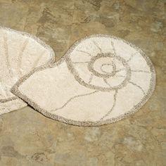 In different color- Nautilus Shell Bath Rug Natural 25 x 33 $42 Coastal Bedding, Coastal Decor, Coastal Entryway, Coastal Farmhouse, Coastal Furniture, Deck Furniture, Modern Coastal, Coastal Cottage, Farmhouse Table