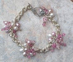 Chainmail Bracelet in Argentium Sterling Siver , Crystal & Pearls Chainmaille