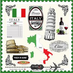 Italy Embellishments. Digital Scrapbooking. Instant Download. on Etsy, $3.00