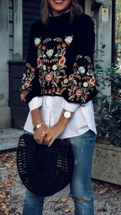 Cute Casual Outfits to Try Now A Rich Embroidery Floral Sweater from Pasaboho. Featuring Attractive floral clothing boho style fashion outfit inspiration and the latest fashion trends and more Shop this look ! Fashion Mode, Look Fashion, Trendy Fashion, Winter Fashion, Womens Fashion, Fashion Trends, Fashion Spring, Fashion 2018, Classic Fashion