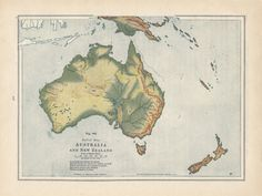 Vintage Australia Map New Zealand Relief Map by VintageButtercup