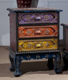 Three Drawer Colorful Chest [ INCD22 ] [INCD22] - Rs5,100.00 : An Online furniture store for Bedroom, Living Room, Dining Room, Indian Wooden Furniture, Jodhpur Furniture Wooden Sofa: