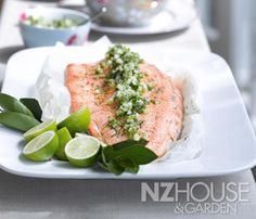 Baked Salmon Fillet with Dill and Salsa Verde Wine Recipes, Cooking Recipes, Salmon Fillets, Salsa Verde, Baked Salmon, Savoury Dishes, Main Meals, Fresh Rolls, Bon Appetit