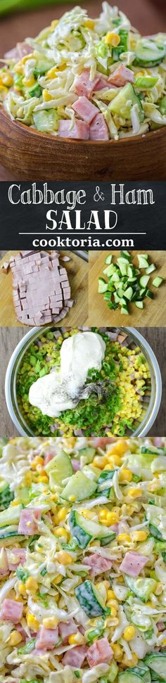 Made with fresh cabbage, cucumbers, ham, corn and scallions, this tasty and crunchy Cabbage and Ham Salad is packed with vitamins and makes a quick lunch or side dish. ❤️ COOKTORIA.COM