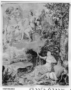Designed after drawing previously attributed to Raphael (Raffaello Sanzio or Santi) | Venus in her Chariot from a set of Mythological Subjects after Raphael | French, Paris, Woven at the Manufacture Nationale des Gobelins | The Met Museum #NYC Gift of Julia A. #Berwind 1953 #art #artwork #museum