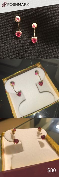 PRICE DROP!!! 10K Heart Drop Earrings 💕 10K Yellow Gold, 0.66ctw Ruby Back Hanging Earrings, are another little accent for date night! They are cute and not heavy at all. Jewelry Earrings
