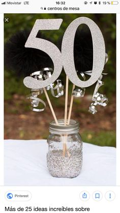 Anniversary Party Decorations / Birthday Centerpiece / Party Decoration Cake Topper J Moms 50th Birthday, 90th Birthday Parties, 50th Party, Birthday Table, 50th Birthday Party Ideas For Men, 50th Birthday Cakes, 50th Birthday Quotes, Fifty Birthday, Surprise Birthday
