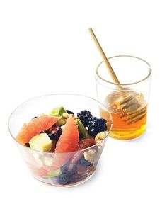 Fruit Salad with Avocado - Avocado cubes, Pink grapefruit segments, Blackberries, Walnuts, Fromage blanc or plain yogurt, Honey.