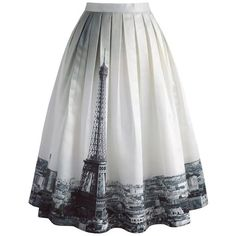 Chicwish Eiffel Tower Dream Printed Midi Skirt (77 BAM) ❤ liked on Polyvore featuring skirts, white, mid calf skirts, white knee length skirt, white skirt, white midi skirt and calf length skirts
