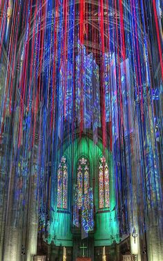 Anne Patterson's installation in San Francisco's Grace Cathedral models what she sees with music (She has synesthesia, a neurological condition that allows her to see colors and shapes in music.)