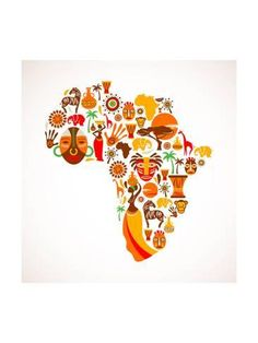 Art Print: Map Of Africa With Icons by Marish : 24x18in