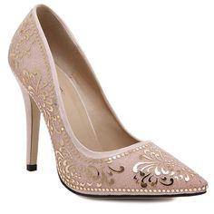 Elegant Stiletto Heel and Floral Print Design Pumps For Women