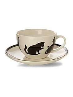 Silhouette Cats tea cup and saucer