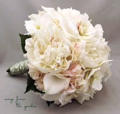 hydrangea peony bouquet | Bridal Bouquet Real Touch Peonies Calla Lilies Orchids Hydrangea Ivory ...