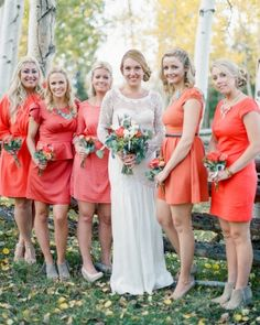 Bridesmaids Dresses Mismatched Bridesmaid Dresses, Wedding Bridesmaid Dresses, Wedding Attire, Orange Bridesmaids, Burgundy Bridesmaid, Bridesmaid Inspiration, Wedding Inspiration, Color Inspiration, Coral Wedding Colors