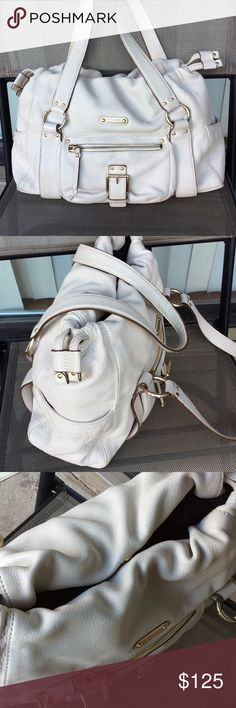 Michael Kors hobo leather bag HOST PICK 10/8 Preown,egg shell color,some dirt on corners and back,snap closure,3 pouches and one zip pocket inside,can be worn on shoulder Michael Kors Bags Hobos