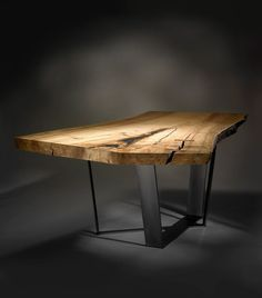 The Neiman Table is a naturally oiled, spalted maple slab paired with a custom… Industrial Furniture, Wood Furniture, Furniture Design, Custom Dining Tables, Wooden Tables, Wood Table Design, Slab Table, Woodworking Furniture Plans, Live Edge Table