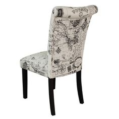 "Love the rustic refined travel theme and sleek high back look for an office, dining room or other chic style  $183.99 ""Monsoon Voyage Upholstered Black Dining Chairs (Set of 2) 