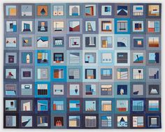 "Color Story: Roofline, 35"" x 28"" quilt by Erin Wilson"