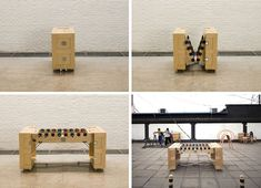 This is awsome a foosball table folds down to the size of a crate