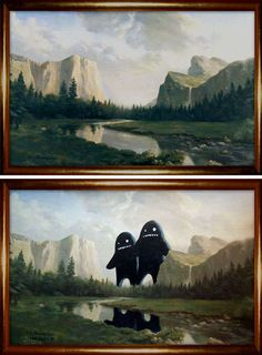 Drab Painting Makeovers : thrift-store paintings