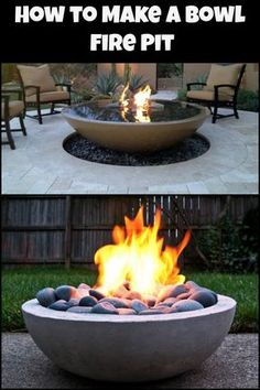 This gives you a great looking fire pit at a fraction of the cost of a commercia - Feuerstelle - Plantio Fire Pit Bowl, Fire Pit Table, Diy Fire Pit, Fire Bowls, Fire Pit Backyard, Diy Propane Fire Pit, Concrete Patios, Concrete Fire Pits, Diy Concrete