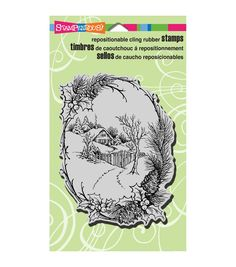 """Stampendous Christmas Cling Rubber Stamp 4""""X6"""" Sheet-Christmas Cottage"""