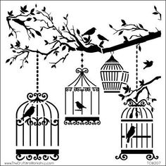 The Crafter's Workshop Stencil - Birds of a Feather - 6 x 6 inches