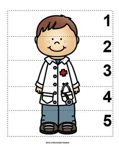 Number Sequence Preschool Picture Puzzle - Doctor from Worksheet Teacher Doctor Theme Preschool, Preschool Worksheets, Preschool Activities, Community Helpers Crafts, Preschool Pictures, Community Workers, Picture Puzzles, Kids Education, Number Sequence