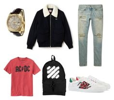 """""""streetwear 5"""" by rotem-snir ❤ liked on Polyvore featuring Yves Saint Laurent, Lacoste, Gucci, Gap, Off-White, Rolex, men's fashion and menswear"""