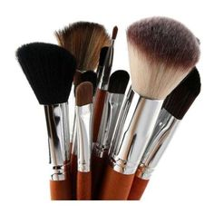15 Pcs Portable Makeup Brushes Set Silver ($13) ❤ liked on Polyvore featuring beauty products, makeup, makeup tools and makeup brushes