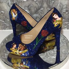 Beauty and beast wedding shoes bridal crystal heels bridesmaids pumps Beauty And The Beast Theme, Beauty And Beast Wedding, Estilo Disney, Fancy Shoes, Me Too Shoes, Women's Shoes, Prom Shoes, Disney Heels, Custom Shoes