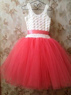 Coral flower girl tutu dress crochet tutu dress wedding by Qt2t