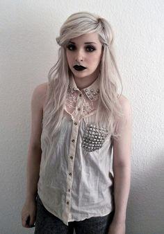 Studded chiffon shirt with white blonde hair and black lipstick <3