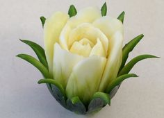 The Zucchini Cactus Rose Flower - Advanced Lesson 16 By Mutita Art Of Fruit And Vegetable Carving L'art Du Fruit, Deco Fruit, Fruit Art, Fruit Salad, Veggie Art, Fruit And Vegetable Carving, Art Et Design, Food Design, Cactus Rose