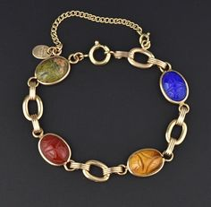 Egyptian Revival Scarab Beetle Bracelet #Gold #Bracelet #Classic #Agate #Pools #Buckle #English #Onyx #Charm #Seal
