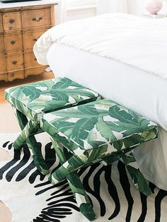 Tropical Bedrooms, Tropical Home Decor, Tropical Houses, Tropical Interior, Zebra Print Bedding, X Bench, Benches, Bench Designs, Foot Of Bed
