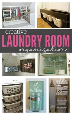These Creative DIY Laundry Room Organization Ideas will inspire you to break out the hammer and get to work! Great tips for creating a beautiful, well organized space! Laundry Room Remodel, Laundry Room Organization, Laundry Room Design, Laundry In Bathroom, Organization Ideas, Laundry Rooms, Laundry Room Inspiration, Room Essentials, Organizing Your Home