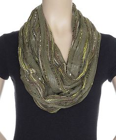 This Olive Slub-Knit Infinity Scarf by Capelli New York is perfect! #zulilyfinds