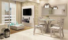 Sala de Jantar Conjugada com Sala de Estar com Mesa, 4 Cadeiras, Painel para TV, Moldura e Mesa de Centro Pátina/Floral Marrom/Branco - Caaza