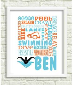 Swimmers art / Gifts for swimmers / Personalized Swim Print / Swim team gift…