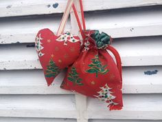Heart in a bag Christmas hanging heart decoration  by Kirstyflo