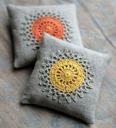 Lavender sachets crochet motif set of 2 by namolio on Etsy Crochet Cushions, Crochet Pillow, Pin Cushions, Crochet Sachet, Crochet Motifs, Crochet Doilies, Crochet Patterns, Crochet Home, Crochet Gifts